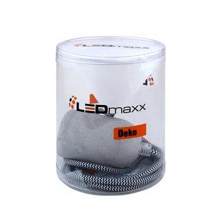 Deko Set Textilkabel schwarz mit Beton-Lampenfassung E27 und weißem Baldachin
